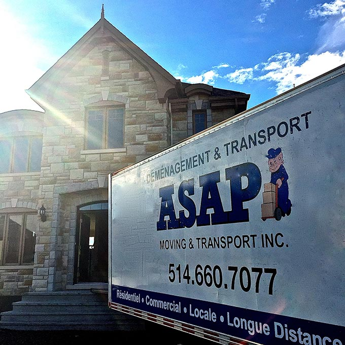 ASAP moving truck making a residential delivery